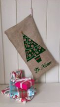 Personalized Tree Father Christmas Xmas Santa Sack / Stocking Bag Jute Hessian.